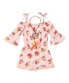 6e11079f90c Loving this Pink Floral Romper   Necklace - Toddler   Girls on  zulily!