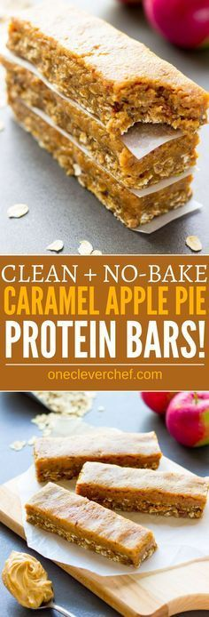 These delicious no-bake protein bars are a must-try fall season treat. Easy to make and super healthy, they taste like your grandma's caramel apple pie, without the calories, refined-sugar and all the bad stuff. Raw, entirely gluten-free, vegan, dairy-free, egg-free, flourless and refined sugar-free, these delicious protein bars are the perfect breakfast, snack or post-workout treat. | onecleverchef.com