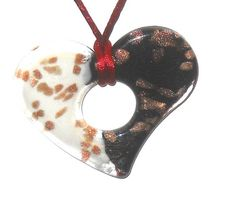 99cent Ebay auction Glass Heart Pendant with silk cord Black White Gold @eBay! http://r.ebay.com/WQ46Bw