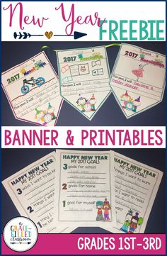 Start the new year right in your classroom with this FREE banner and printables! Set new year resolultions with your students!