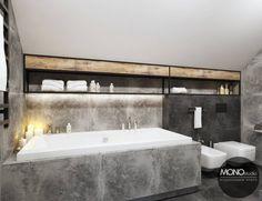Po więcej inspiracji zapraszamy na Naszą stronę internetową:biuro@monostudio.pl oraz na Facebooka Condo, Loft Design, Bathroom Inspiration, Bathtub, Home, Industrial, Standing Bath, Bathtubs, Bath Tube