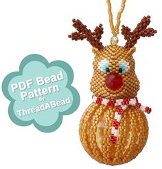 Bead Pattern: Reindeer Christmas Beaded Ornament by ThreadABead