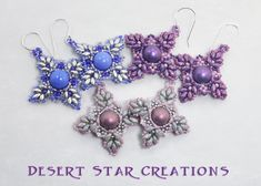 Super Duo Stitched Star Earrings Pink by DesertStarCreations, $24.99