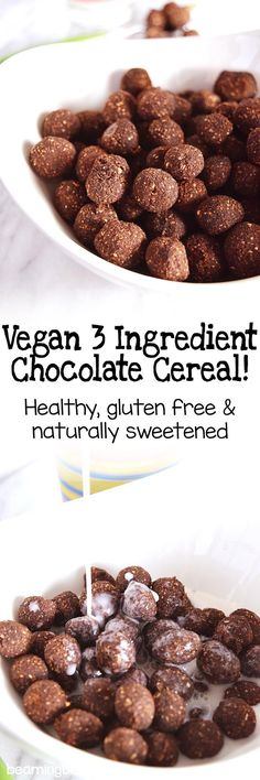 Vegan 3 ingredient chocolate cereal is crunchy, naturally sweet, and will totally take you back to childhood. The opposite of typical, sugary cereals, this is healthy breakfast recipe is made with just 3 ingredients, is gluten free, and naturally sweetened!