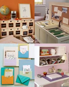 Chalkboard paint, envelopes in journals, a file chest and more!  Great ideas for organization!