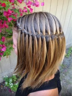 The waterfall braid is a beautiful braid. You can change the look of it by taking smaller or larger slices of hair to add in