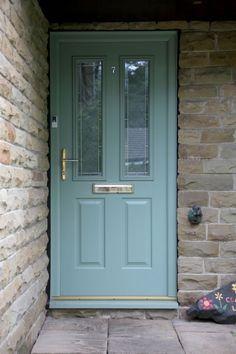 Ludlow 2 composite door in chartwell green with Brilliante glass.
