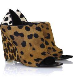 Alexander Wang Leopard Peep-Toe Wedge Booties