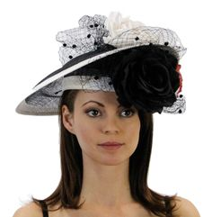 Garden Party Hat with Roses and Netting (Black)
