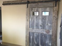 reclaimed wood office door by Story Barns Reclaimed Wood Furniture, Barn Doors, Barns, Repurposed, Interior Decorating, Woodworking, Home Decor, Interior Styling, Homemade Home Decor