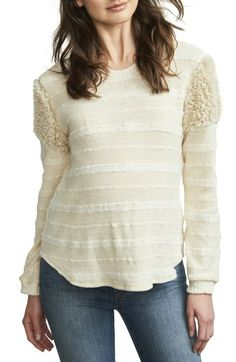 Free shipping and returns on Maternal America Fuzzy Shoulder Textured Maternity Sweater at Nordstrom.com. Fluffy faux shearling trim at the shoulders caps off the cozy appeal of this bump-friendly sweater knit with stripes of fuzzy texture.