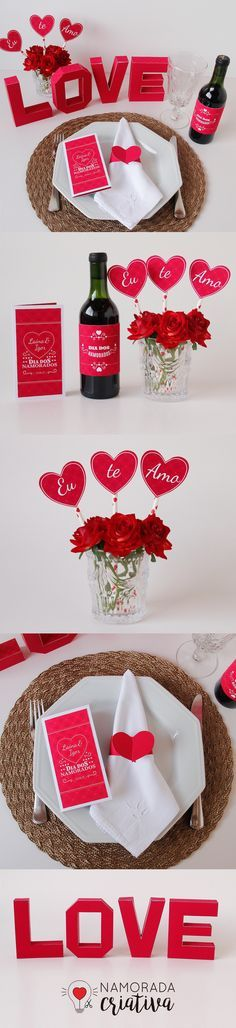#diadosnamorados #decoração #jantar Romantic Table, Romantic Room, Romantic Gifts, Happy Birthday Cake Topper, Love Days, Valentine's Day Diy, Valentine Decorations, Valentines Diy, Love Gifts