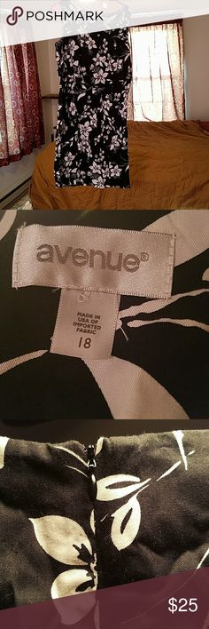 Sleeveless dress Black with white flowers.   Worn once Avenue Dresses Midi