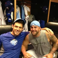 Ian Kinsler and Mike Napoli. Yummy.