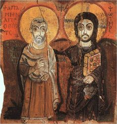 The Icon of Friendship - Can be found in the Chapel of Reconciliation, Taize.  Originally from the Egyptian, Coptic tradition. I have a copy on my desk :)