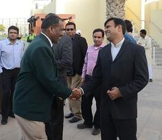 Joint Secretary PDCA Muhammad Nizam with Currently acting chairman PCB Mr. Subhan Ahmed at ICC Global Cricket Academy Dubai