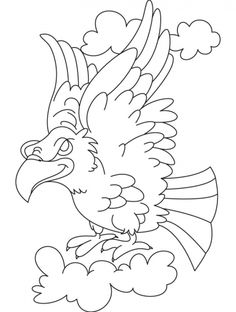 Flying Eagle In A Fighting Mood Coloring Page