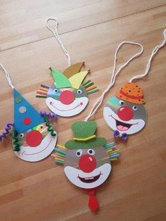 30 ideas for handicrafts with children for carnival - After the quiet and beaut. - 30 ideas for handicrafts with children for carnival – After the quiet and beautiful Christmas se - Old Cd Crafts, Kids Crafts, Clown Crafts, Circus Crafts, Carnival Crafts, Cute Crafts, Preschool Crafts, Diy And Crafts, Arts And Crafts