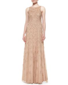 Sleeveless Beaded & Sequined A-Line Gown, Nude by Aidan Mattox at Neiman Marcus.