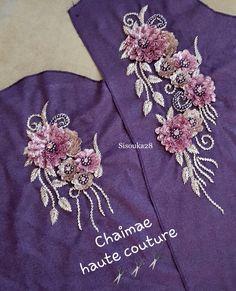 Chaimae couture Zardosi Embroidery, Hand Embroidery Dress, Silk Ribbon Embroidery, Hand Embroidery Patterns, Embroidery Designs, Kurta Designs, Blouse Designs, Pakistani Dress Design, Beaded Brooch