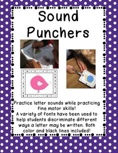 These Sound Punchers are great for your literacy centers, your small group instruction or even as an assessment tool to see if your students have mastered the letters you have taught.