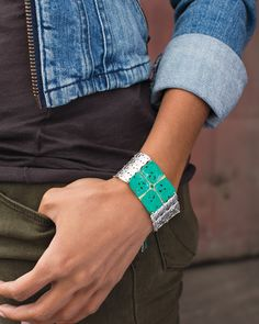 Denim + hunter green + pretty #patina = a winning combination! #FallFashion #Silpada