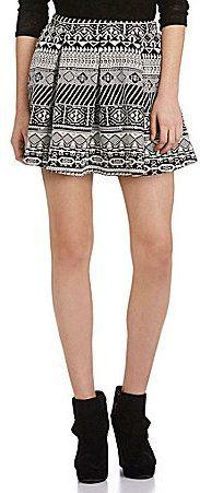 $39, Black and White Geometric Skater Skirt: Moa Moa Tribal Pleated Skater Skirt. Sold by Dillard's. Click for more info: https://lookastic.com/women/shop_items/128164/redirect