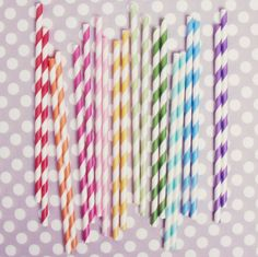 Rainbow Stripey Straw Mix $4 at Shop Sweet Lulu.  Perfect for the mason jar/cupcake liner/bubble gum soda I'm making!
