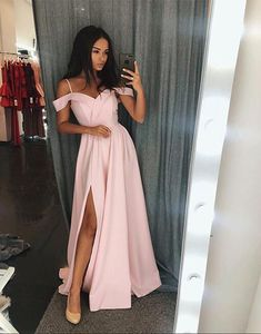 10% off promotion for One Day!Chiffon High Slit Prom Dresses Long Off the Shoulder Evening Dresses Cheap Pink Formal Gowns Sexy Party Dress for Women Pageant Gowns