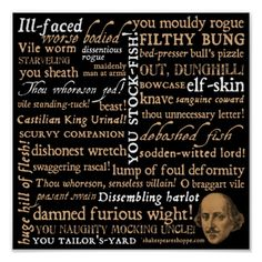Shakespeare Insults Collection Print
