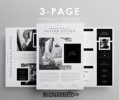Three-Page Media Kit Template Microsoft Word, Dossier Sponsoring, Kit Media, Kit Design, Layout Design, Cv Web, Pretty In Pink, Kit Co, Media Kit Template