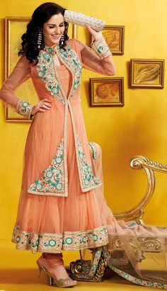 Select the Peach Color Net #AnarkaliChuridarKameez Online with Latest Fashonable Kameez.  #Price INR- 8100.47 Link-  http://alturl.com/88ffb