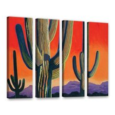 "ArtWall Saguaro Dawn by Rick Kersten 4 Piece Graphic Art on Wrapped Canvas Set Size: 36"" H x 48"" W x 2"" D"
