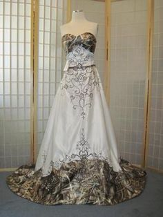 This list explores the hottest trends in camouflage wedding dresses, bringing you 10 of our hottest picks. We'll help you decide if this style is right for you, and which dress will suit you best. Camo Wedding Dresses, Country Wedding Dresses, Wedding Gowns, Country Weddings, Vintage Weddings, Lace Weddings, Wedding Cakes, Wedding Pics, Dream Wedding