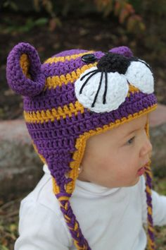 LSU Tiger Crochet Hat custom made newborn to by crochetforclaire