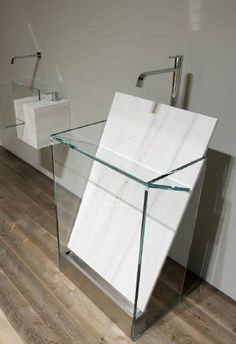 "marble slab in/for bathroom sink.  Antonio Lupi ""Dressed Stone"" bathroom"