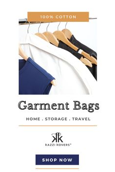 Kazzi Kovers 100% Cotton Garment Bags are designed to protect your suits, dresses, jackets, coats, gowns, couture, and your seasonal and occasional pieces from dust, dirt, insects (pesky moths), sunlight, mould, moisture and mildew.  Made from a breathable cotton fabric that allows fresh air to comfortably nurture and replenish the fabric fibres of your garments and promote their longevity.   Gotta love that!