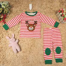 2pcs Set Xmas Kid Children unisex Boy Girl Deer Printed T shirt + Leggings Pajama Set Christmas Costumes Kids Girl Clothing 1-5T(China (Mainland))
