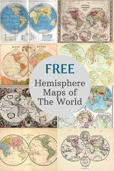 A stunning collection of vintage hemisphere maps of the world. All maps are copyright free. Antique World Map, Antique Maps, Free Printable Art, Free Printables, Picture Boxes, Paris Map, Free Maps, Star Chart, Wall Maps