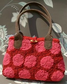Pink Polka Dotted Hooked Rug purse - Mielie love