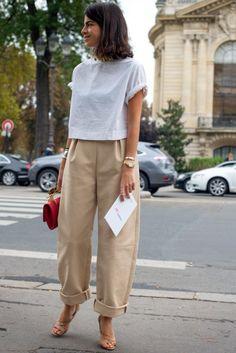 Leandra Brown loose crop trosuers, white t-shirt, gold watch, M2Malletier Bag
