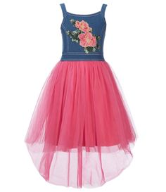 e836ef422b5 Bonnie Jean Big Girls 716 Floral Embroidered Bodice Tulle Skirt Dress   Dillards Tulle Skirt Dress