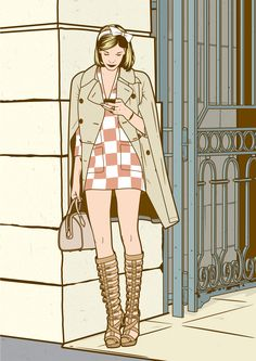Drawing of a girl checking her smartphone in a Paris street.