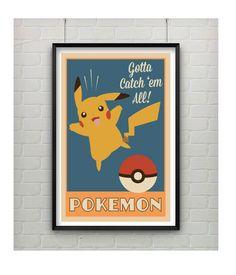 Pokemon Art Print Vintage geïnspireerde door CaptainsPrintShop