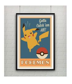 Retro Pokemon Inspired Print with Pikachu  * Digital illustration print * Measures 11 x 17 * Printed on card stock * Frame Not Included (sorry old chap) * Colors may slightly vary from digital image shown. * Please allow 3-5 business days from payment for shipping notification (but typically its less)