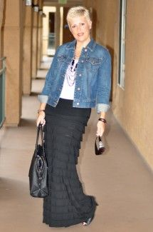 """My Purpose:  So can you tell I am a little obsessed maxi skirts and my denim jacket… (lol), this seems to be a trend! Like I have said before Tuesday's is one of my favorite days, we have made it through Monday and I get to share extra outfit inspirations. Today I am working both in my hubby's office and also in my home office.  I was feeling a little extra fiesty this morning so that is what inspired my look today!  Feel empowered by what you wear and Choose everyday to """"Dress With…"""
