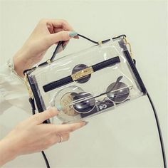 2017 New Design Transparent Bag Transverse Clear Platinum Package Summer Beach Bag Small Tote Shoulder Bag Women Crossbody Bags