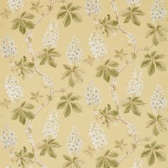 Chestnut Tree by Sanderson - Lemon / Lettuce - Fabric : Wallpaper Direct Gold Fabric, Floral Fabric, Painted Rug, Hand Painted, Sanderson Fabric, Matching Wallpaper, Yellow Home Decor, Chestnut Horse, Shades Of Yellow