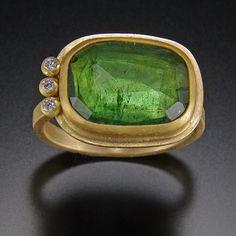 Rose Cut Green Tourmaline Ring with Three Diamond Row