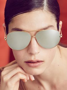 49a99acd18f2 Platinum   White Gold Oversized Metal Aviator Frame by Linda Farrow Luxe at  Gilt
